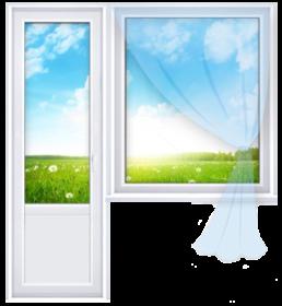 пластиковое окно и дверь в балконном блоке